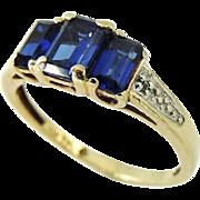 Vintage Sapphire 3 Stone Ring 10k Gold Emerald Cut Stones 1.92ctw