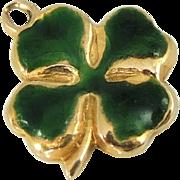 Enamel Shamrock Four Leaf Clover Charm 14k Gold Vintage 1950s