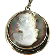 Antique Abalone Cameo Pendant MOP 800 Silver European