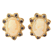 CAMEO Glass Earrings w FAUX Ruby Stones - Clip-On c1940s