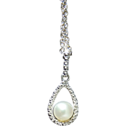 REDUCED Floating Cultured PEARL 14k White GOLD & Diamond Setting