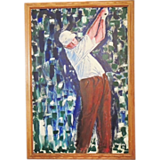 GOLFER Painting  Oil - Large