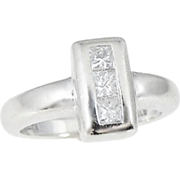 SALE DIAMOND Tower Ring 14k White Gold Designer .30 ctw