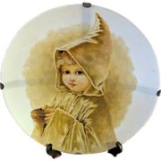 Mt Washington Glass Hand Painted Portrait Child Plate