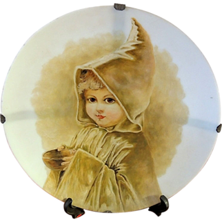 SALE Mt Washington Glass Hand Painted Portrait Child Plate