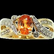 REDUCED MANDARIN Garnet Diamond Ring 14k Gold Orange