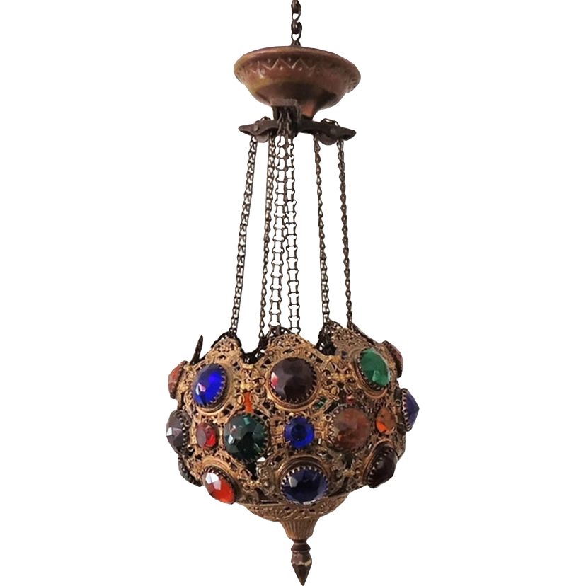 Candle Light Fixture: Victorian Jeweled Light Fixture Brass
