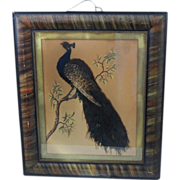SOLD Victorian Folk Art Peacock Feather and Painting on Paper Grain Painted Frame
