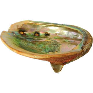Abalone Shell Footed Bowl Mid Century Modern Decor