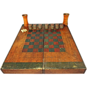 SOLD HOLD Antique Wood Box Game Board Checkers Chess Backgammon Hand Painted Folk Art