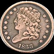 1833 Half Cent Striking Color Super Detail