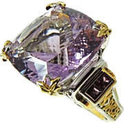 REDUCED Amethyst Ring Filigree Sterling Silver Gold over 35 carats ENORMOUS Bling