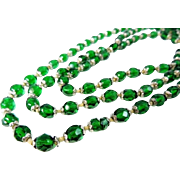 REDUCED Deco Emerald Green Czech Glass Crystal Bead Necklace LONG 57 inch