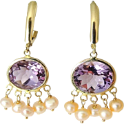 REDUCED Amethyst 14k Gold Pearl Dangle Earrings 8 CARATS !