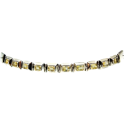 SALE Citrine Sterling Silver Panel Link Bracelet Over 14 CARATS of Gemstones