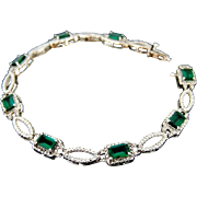 Lab Emerald Bracelet in Sterling Rhodium Art Deco Style c1990