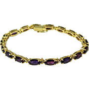 SALE Amethyst 14k Gold Tennis Bracelet Over 7 Carats Purple Gems