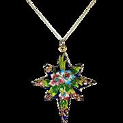 SALE Vintage Porcelain Enamel Star Pendant Ornament c1920-30 Hand Painted Raised Applied Gilt
