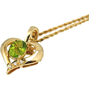 REDUCED 14k Gold Peridot Diamond Heart Enhancer Pendant w 14k Gold Rope Chain