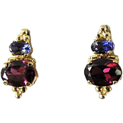 REDUCED 14k Gold Rhodolite Garnet and Tanzanite Earrings Grape Red Colors Small Size BIG Impac