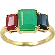 SALE Emerald Cut Emerald Ruby Sapphire Ring 14k Gold 2.77 ctw