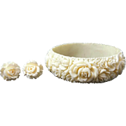 SOLD Carved Celluloid Roses Bangle & Earrings 12k GF Beautiful Vintage Signed