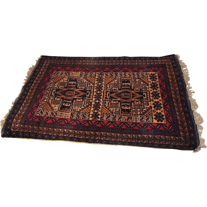 Persian Wool Area Rug Vintage Hand Knotted 50 In X 31 In