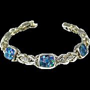 SALE Fiery Mosaic Opal Doublet Bracelet Sterling Silver