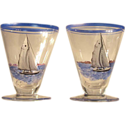 SALE Pair  Nautical  Hand Painted  Cordial  Yacht  Sailboat  Clipper Ship
