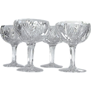 """SOLD VERY LARGE  Clarke  6 3/4"""" tall  Cut Glass  Grapefruit  Dish  Set-4  Signed"""