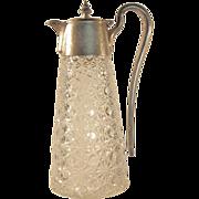 SALE 1880's  RUSSIAN PATTERN  Cut Glass Pitcher  Silver Plate