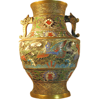 SALE LG Antique Japanese Champleve Bronze / Brass Urn Vase Double Handle