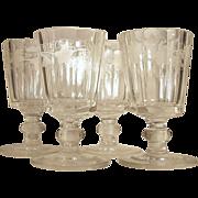 SALE c.1860  Set-4  Goblet  Wreath Leaves & Grape Pattern  CUT GLASS