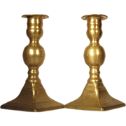 SOLD c.1800  Brass Candlesticks  English  Ball Knop Design RARE