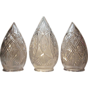 SOLD 3  Stalactite Bullet Shade  Cut Glass  VICTORIAN PERIOD