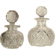 SALE Two  ABP  Cut Glass Cologne Bottle  Crystal  Victorian