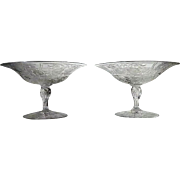 SALE Pair Intaglio Compote Engraved Cut Glass ABP STUNNING