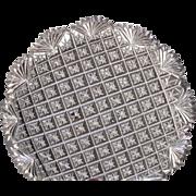 OUTSTANDING  Cut Glass Crystal  Plate  Dish  Strawberry Diamond Fan Pattern  c.1890