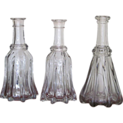 SALE 1830's  THREE  Globular Bar Bottle  Flint  Decanter   RARE FIND