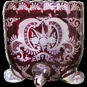 SOLD Novy Bor Vase  Moser Bohemian c.1920  Cut Glass  Etched  RARE