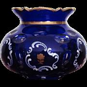 SALE Moser Bohemian Vase Blue Cobalt Cut to Clear  Enameling  Gold  c.19th century