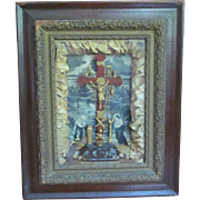 SALE Religious Frame  Crucifix  Shadow Box  c.1877  THY KINGDOM COME
