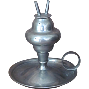 SCARCE  Whale Oil Lamp  Pewter  J.B. Woodbury  1820-35