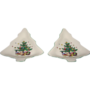 Nikko Happy Holidays TWO Christmas Tree Candy Dish