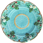 Majolica Plate  Sarreguemines France  C.1880 Strawberries SEVEN AVAILABLE