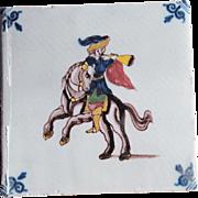 17th c. Dutch Delft Tile Delftware Polychrome