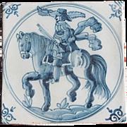 17th c. Dutch Delft Tile Horseman Soldier Delftware