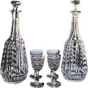 1880's Two Decanter  FOUR Cordial Sherry Cut Glass  ABP Stunning