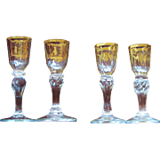 18thC. Anglo Cordial Sherry FOUR Gold Gilt INCREDIBLE