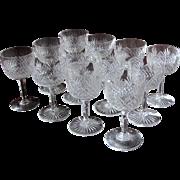TWELVE 1890's Dorflinger Wine Stemware Strawberry Diamond